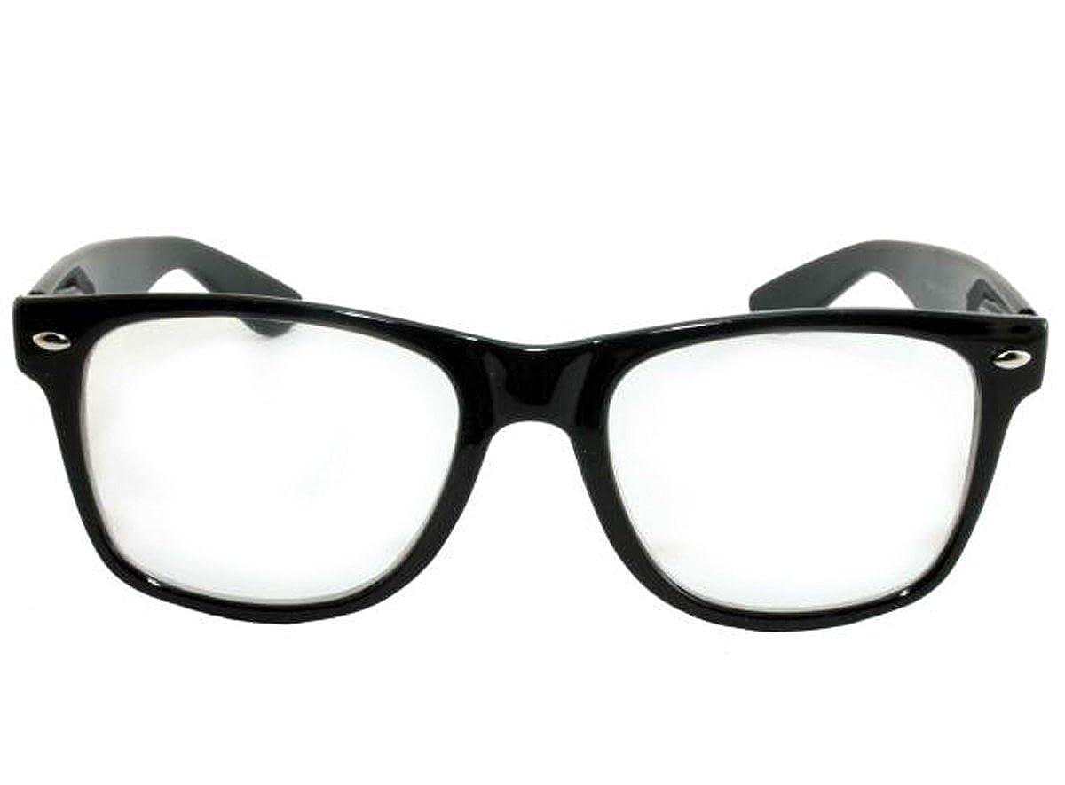 Black, Clear Retro Horned Rim Retro Classic Nerd Glasses Clear Lens