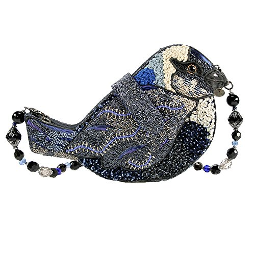 Bag Novelty White Frances Mary Black Beaded Handbag Jeweled Shoulder Bird Blue Song gqPffWwSY