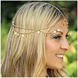 head chain gold - Zealmer Girls Metal Head Chain Jewelry Chain Headbands Headpiece Jewelry Hair Band Tassels with Sequins
