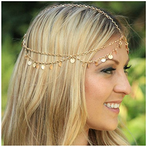 Zealmer Girls Metal Head Chain Jewelry Chain Headbands Headpiece Jewelry Hair Band Tassels with - Metal Heads