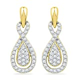 10k Yellow Gold Womens Diamond Oval-shape Dangle Screwback Earrings 1/3 Cttw (I1-I2 clarity; H-I color)