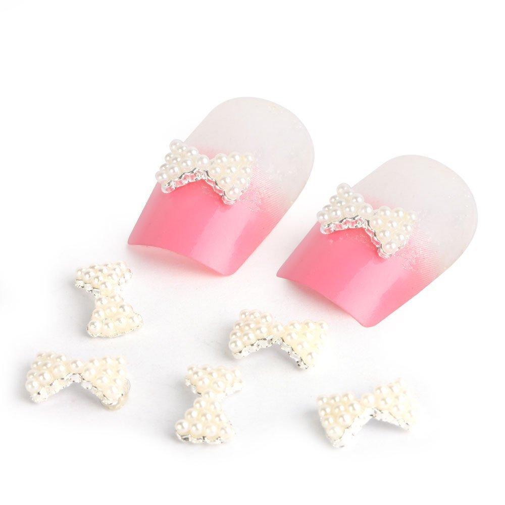 10pcs 3D Alloy Faux Pearl Bow Tie Nail Art Glitters Stickers DIY Decorations OEM