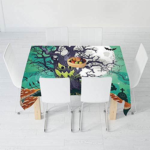 TecBillion Polyester Tablecloth,Halloween Decorations,for Wedding Banquet Restaurant,48 X 24 Inch,Trick or Treat Dead Forest with -