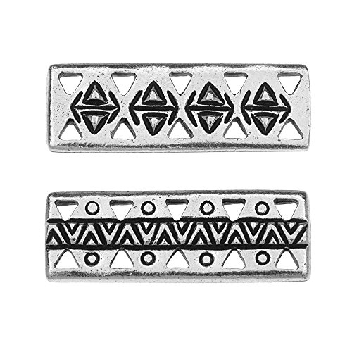 TierraCast Pewter Connector Links, 5-Strand Ethnic Bar 26x9mm, 2 Pieces, Antiqued Silver ()