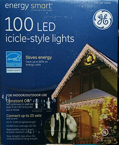 100 Led Icicle Style Lights Ge in US - 4