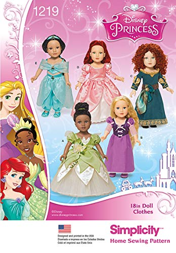 Simplicity 1219 Disney Princess 18'' Doll Clothes Costume Sewing Patterns, One Size