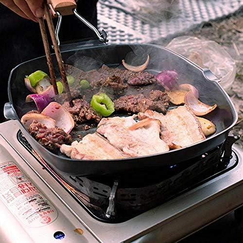 Yqs Poêle à Steak Nicht-bâton Braten Pan Für Eier Ham Holzgriff Klapp Platz Grill Pan Tragbare Steak Pfanne (Blatt-Größe : 28 24cm)