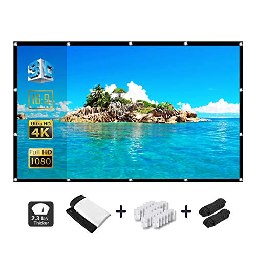 Alopex 120 Inch Projector Screen,16:9 HD 4K Video Movie Screen Grommets No Crease Portable for Indoor Outdoor Home Theater, Support Double Sided Projection.
