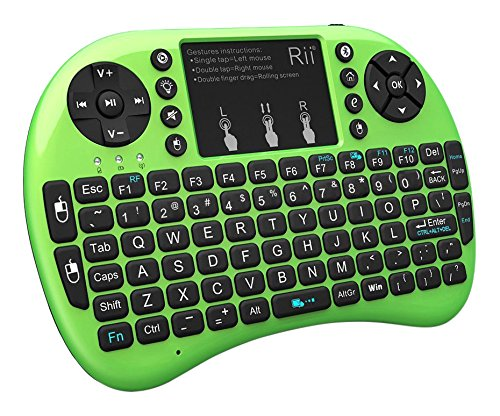 (Rii i8+ BT Mini Wireless Bluetooth Backlight Touchpad Keyboard with Mouse for PC/Mac/Android, Green (RTi8BT-4))