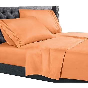 King Size Bed Sheets Set Light Orange, Bedding Sheets Set On Amazon, 4