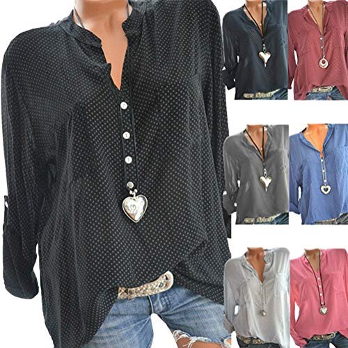 Et Hauts Automne Col Pois Chemisier lgant Shirt Blouse Longues Chic V Femme T Tops Manches Lach Polka Minetom Rouge Lache Dot Casual g4wFqw