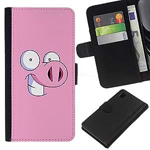 KLONGSHOP // Tirón de la caja Cartera de cuero con ranuras para tarjetas - Cerdo guarro de la historieta Ojos divertidos - Sony Xperia Z1 L39 //