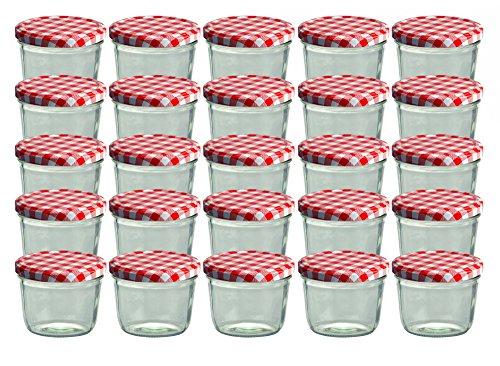 Cap+CroTo 82 Lot de 25 bocaux en Verre pour Conservation de Confiture Couvercles Rouges à Carreaux Capacité 230 ML