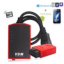 UCANDAS VDM Update Online Auto Scanner Wireless Universal Car Wifi Diagnostic Tool with a Honda Adapter Gift