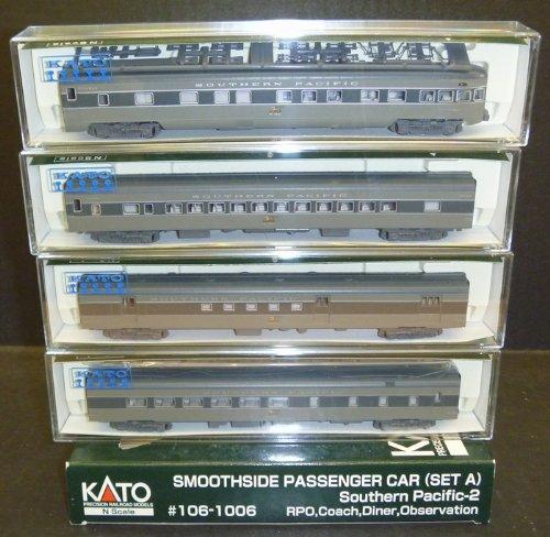 KATO 106-1006 Smoothside Passenger Cars (Set A) Southern Pacific-2: RPO, Coach, Diner, Observation (N Scale) Diner Passenger Set