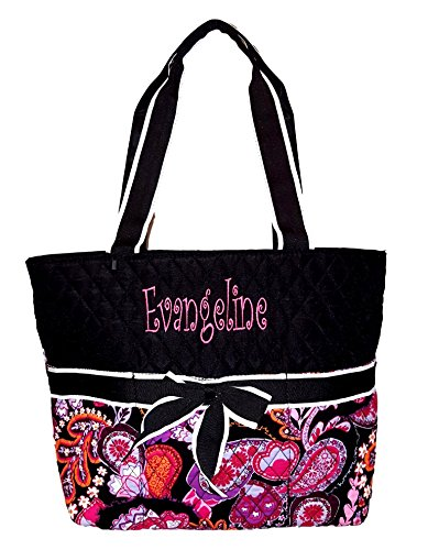 SazyBee 3 piece Diaper Tote Bag Set - Custom Embroidery Available (Paisley Embroidered embroidered Name)