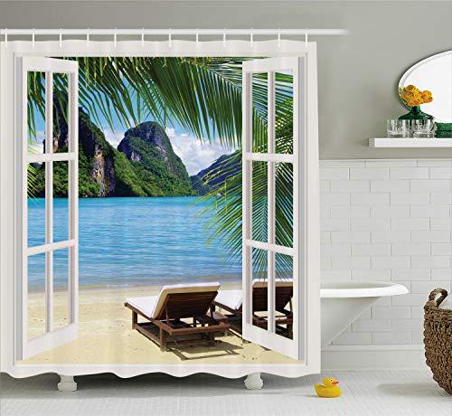 Ambesonne Palm Tree Decor Ocean Beach Seascape Going Away Gifts Sunbeds Balcony Wooden Windows Summer Scene Tropical Island Fabric Shower Curtain, Blue Green
