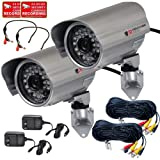 Cheap VideoSecu 2 x Outdoor Bullet Security Cameras Built-in 1/3″ Sony Effio CCD 700TVL Day Night Vision Wide Angle Lens IR Infrared Home CCTV with Audio Microphones, Cables and Power Supplies IR45HE AC1