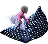 MiniOwls TOY STORAGE BEAN BAG CHAIR COVER - fits 100L/26 gal - Stuffed Animal Organizer in NAVY with white stars - Soft & Comfy Cover that Creates Cozy Lounger Bed – (Also comes GRAY & 200l size)