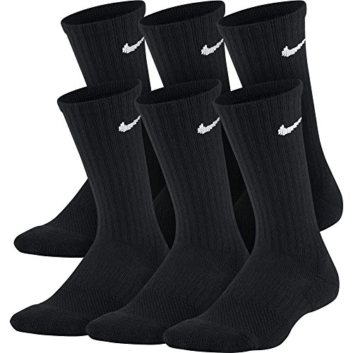 Cotton Cushion Crew Socks - NIKE Kids' Unisex Everyday Cushion Crew Socks (6 Pairs), Black/White, Small