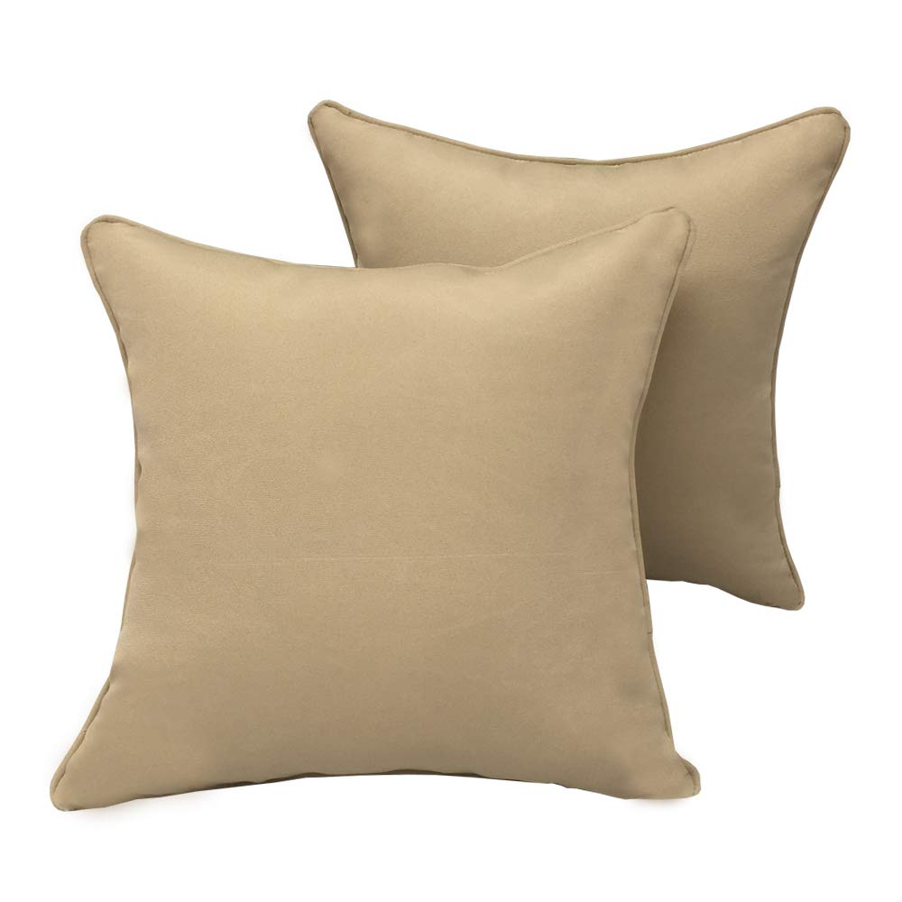 Vanteriam 2 Pack Decorative Outdoor Solid Waterproof Throw Pillow Cover with Piping, Accent Pillow case for Outdoor Patio Furniture Set, Square 18''x18'' Beige