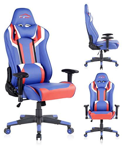Top Gamer Gaming Chair PC Computer Game Chairs for Video Game (white/red/blue-08) Review