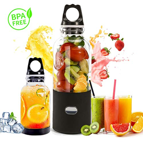 Portable Personal Blender, USB Rechargeable Smoothie Blender for Fruit Shakes Smoothies and Baby Food, Detachable Travel Mini Blender Juicer Cup with Lid, Mixer with 6 blades 500ml 4000mAh (Baby Fruit Blender)