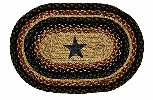 IHF Home Decor Tartan Star Table Placemats Rug for Kitchen, Dinner Tables, Living Room, Office, Indoor, Outdoor | Oval Shaped Jute Fiber Rugs 13