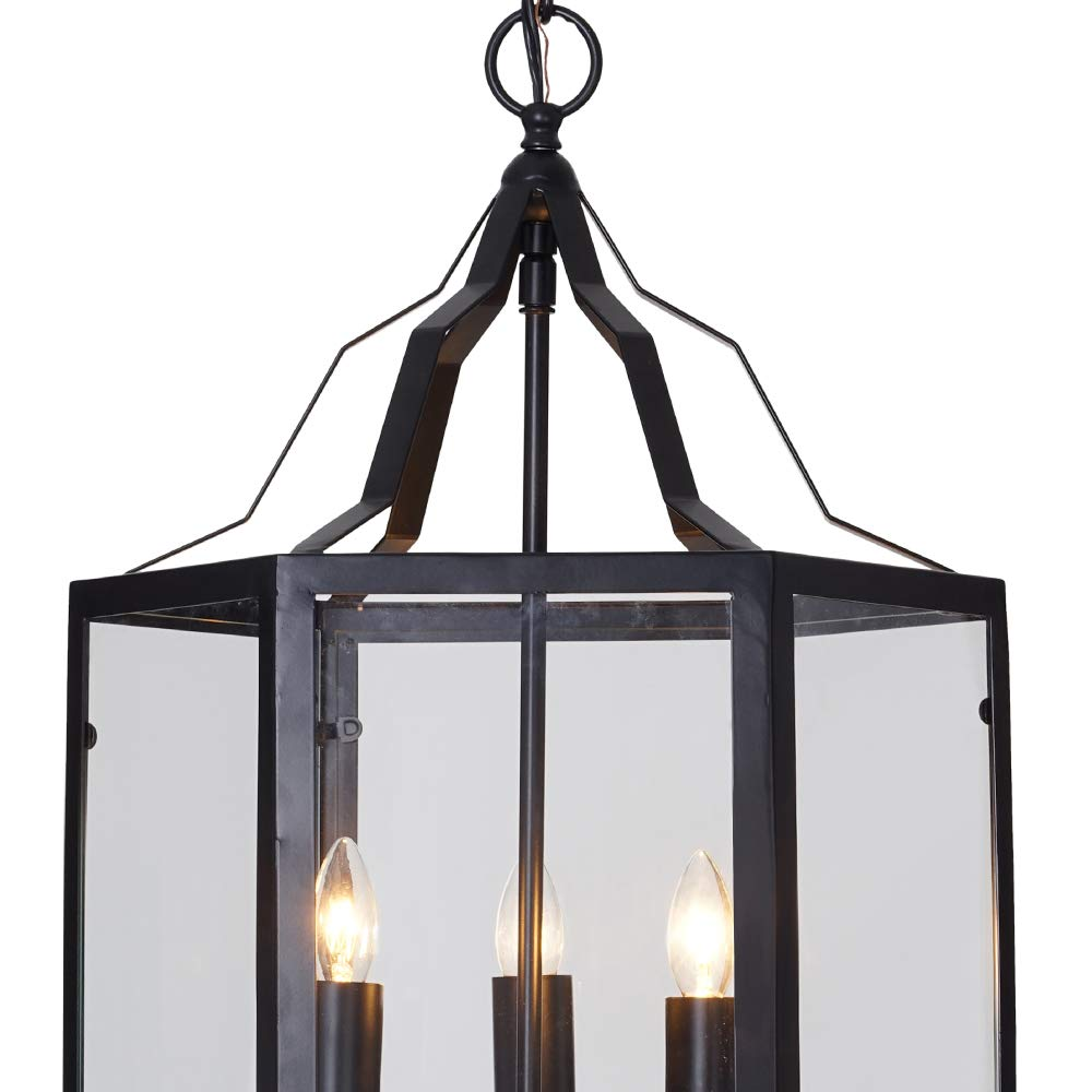 Ravenna Home Cage Frame Glass Panel Pendant Chandelier with 3 LED Light Bulbs – 14 x 14 x 17.75 Inches, Matte Black