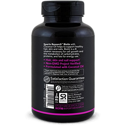 High Potency Biotin (10,000mcg) with Organic Coconut Oil; Supports Hair Growth, Glowing Skin and Strong Nails; 120 Mini-Veggie Softgels by Sports Research (Image #4)