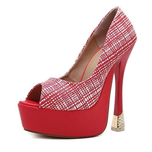 ROJO Rojo plataforma tacón Stiletto mujeres Peep ZPL alto Plataforma Negro atractivas fiesta Vestido Señoras las de solo Toe Sandalias de Discoteca vwv1nxCq6R