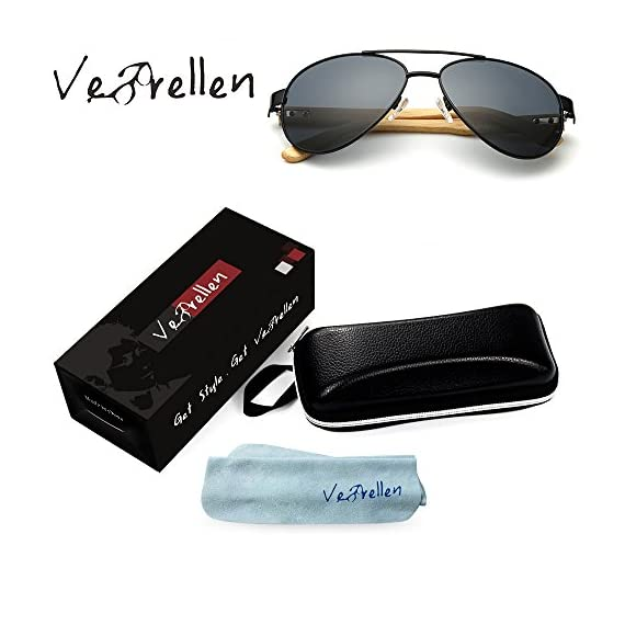 VeBrellen Bamboo Wood Arms Classic Mirrored Sunglasses For Men & Women 2 1.Materials——AC lens & Bamboo Temple. 2.Bamboo Temple——Only eco-friendly and recycled wood used. No harm is done to the environment, feel good about yourself! 3.Flexible Alloy Frame. The More Flexible the More Comfortable. No Worry About Glasses Falling Down. Half frame, special and vintage design.