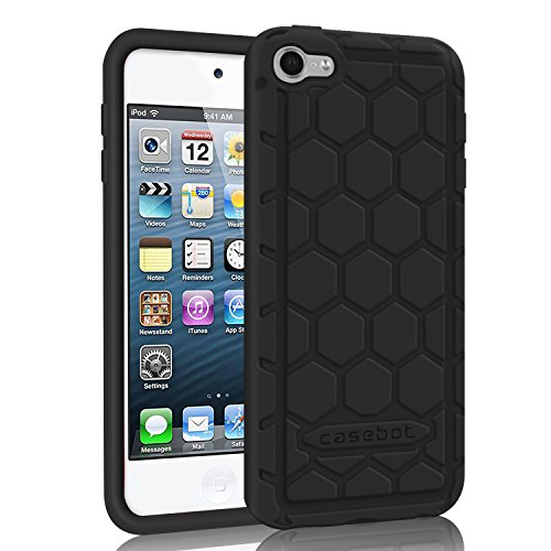 Ipod Touch Black Silicone - Fintie iPod Touch 6th Generation Case - [Shock Proof] Anti Slip [Honey Comb Series] Silicone Protective Case Cover [Kids Friendly] for Apple iPod Touch 6 / iPod Touch 5, Black