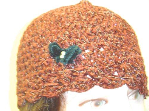 Cp122bbfy, Hand Crocheted Brown Chenille Gimp Skull Cap with Rhinestone Studded Black Color Velvet Butterfly for Women and Teens.. Closed Knit Suitable to Wear in Cold Weather