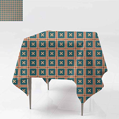 - DILITECK Restaurant Tablecloth Abstract Retro Mosaic Tile Design Square Shapes with Floral Details Antique Art Table Decoration W70 xL70 Petrol Blue Red Cream