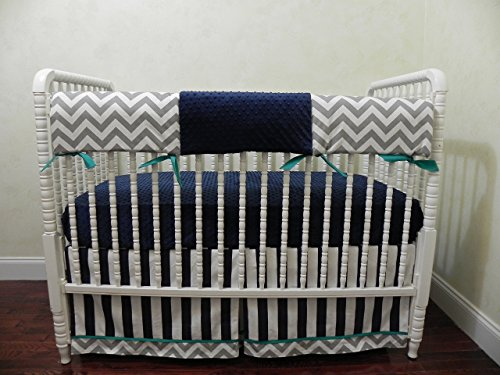 Nursery Bedding, Bumperless Baby Crib Bedding Set Theron, Baby Boy Bedding, Teething Rail Guard, Navy Stripes, Chevron Gray, and Teal Accents - Choose Your Pieces