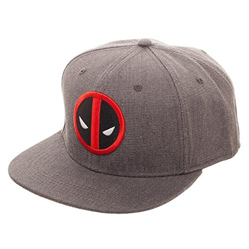 Embroidered Deadpool Logo Flatbill Flex Cap - Baseball Cap/Snapback Grey]()