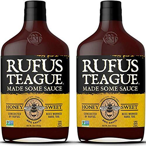 Rufus Teague: BBQ Sauce - 16oz Bottles - Premium BBQ Sauce - Natural Ingredients - Award Winning Flavors - Thick & Rich Sauce - Gluten-Free, Kosher, Non-GMO (Honey Sweet, 2 Pack) ()