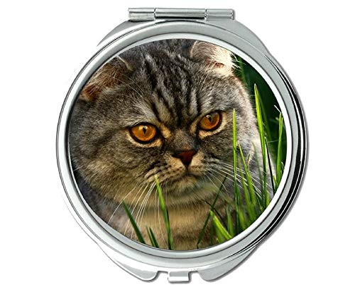 (Compact Mirror Round Compact Mirror Double-sided,Cat mirror for Men/Women,1 X 2X Magnifying)