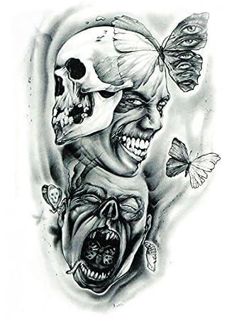 Tatouage Halloween Grashine Pour Les Adultes Terribles Tete De Mort