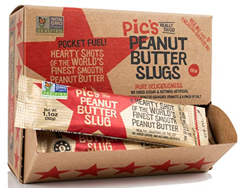 Pics Peanut Butter Slugs (Pack of 20) Quick Healthy On the Go Snack, Made With All Natural Non GMO Peanuts, No Added Sugar, Delicious Gourmet Smooth Texture, Healthy Source of Protein, Vegan Friendly