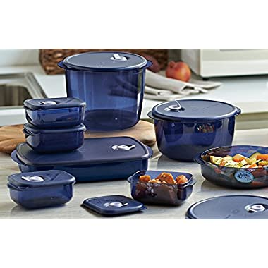 Tupperware Vent N Serve 8pc Microwave Set Indigo Blue with Steam Vents