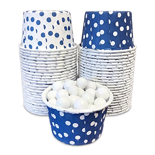 g Cups - Navy Blue and White Dot - 2 x 1.5 Inches - 48 Pack (1.5 Inch Dots)