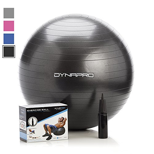 Exercise Ball with Pump- Gym Quality, Anti-Burst, Anti-Slip (Black, 75 centimeters) Fitness Ball by DynaPro Direct. More colors and sizes available aka Yoga Ball, Swiss Ball