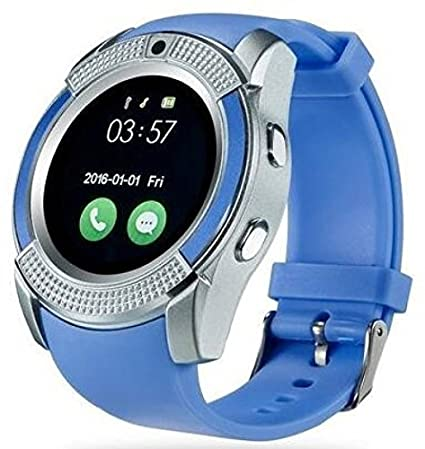 3b6e28bd1c0 JIKRA Certified Bluetooth V9 Wrist Watch Phone with Camera   SIM Card  Support (Blue)  Amazon.in  Computers   Accessories