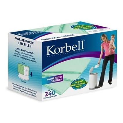 Korbell KR250DR1B - Bolsas de recambio para papelera de pañales, tamaño normal (1 pack