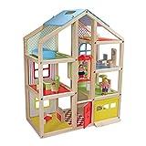 Melissa & Doug Hi-Rise Wooden Dollhouse and Furniture Set (1:12 Scale Dollhouse, Open-Sided, Multi-Color, 18 Pieces, 76.2 cm H × 60.325 cm W × 33.02 cm L)