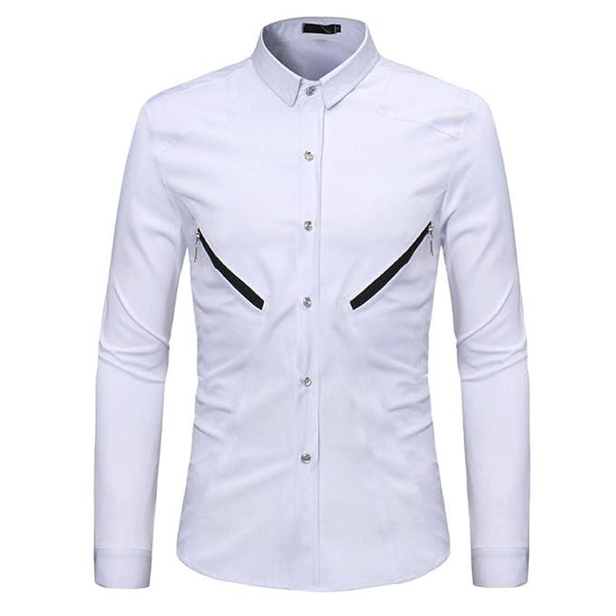Camisas Casual Hombre Manga Larga, Covermason Blusa de Cremallera Casual sólida de Verano de los