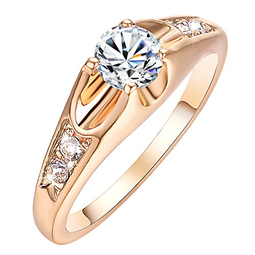 Yoursfs Cubic Zirconia Ring Women's 18K Rose Gold Plated CZ Crystal Engagement Rings Promise Rings Anniversary Wedding Bands for Lady Girl