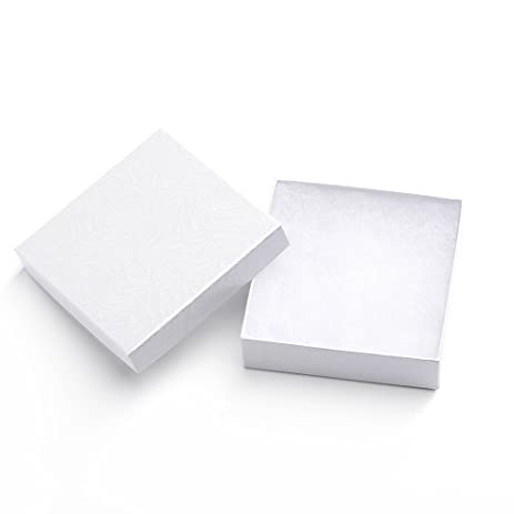 Amazoncom MESHA 96 Pcs Jewelry Boxes 35x35x1 Inches White Swirl